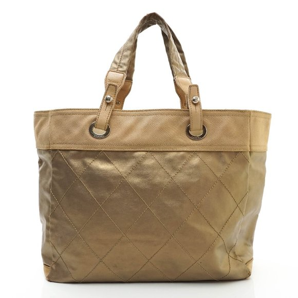 Auth Chanel Tote Bag Canvas Gold #8407C12